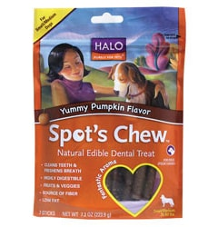 Halo, Purely For Pets Spot's Chew Dental Treat Yummy Pumpkin Flavor