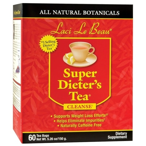 Laci Le Beau Super Dieter's Tea Cleanse Bags, All Natural Botanicals - 60 ea (Pack of 2)